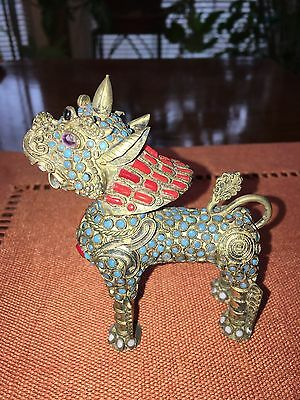Beautiful, Vintage Chinese Shi (Foo Dog), Turquoise and Coral on Bronze