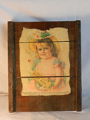 Vintage Hires Root Beer Syrup Paper Advertising Sign on Wood Planks