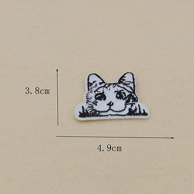Cute pet cat Embroidery patches Iron on sew clothes Applique badge Bag Craft DIY