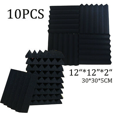 Black Acoustic foam sound treatment tile pack studio/music 1/10/20/30/40/50PCS