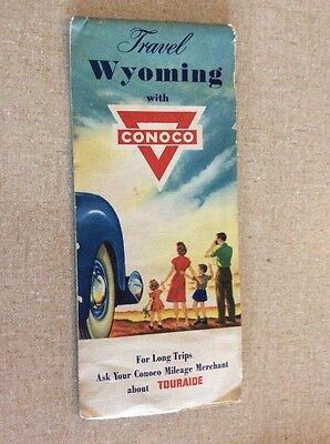 1956 ~ WYOMING road map ~ Conoco oil~gas ~ All the Old Roads