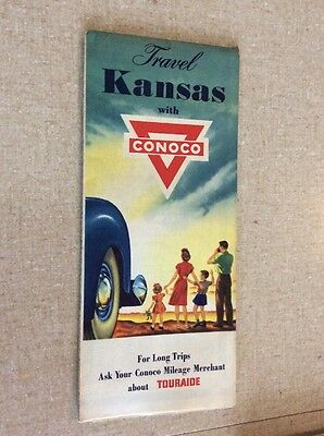 1956 ~ KANSAS road map ~ Conoco oil~gas ~ All the Old Roads