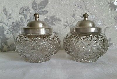A Pair of Vintage Cut Glass & Silver Plated Preserve Jars