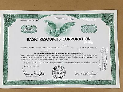 Basic Resources Corp 100 Shares   Vintage Stock Certificate 1970