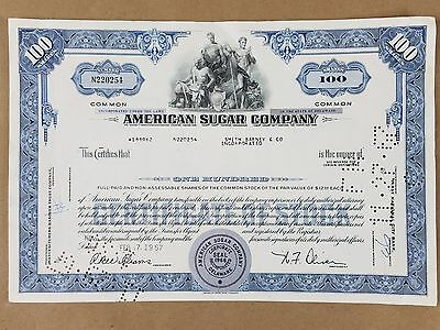 American Sugar Company 100 Shares   Vintage Stock Certificate 1967