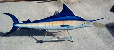 Marlin fish carved wooden painted Palm tree frond animal sea life nautical art