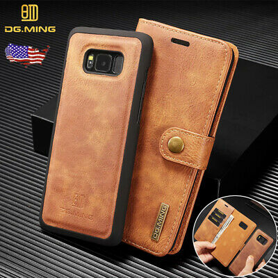 Galaxy Note 9 S8/S9 Plus Leather Removable Wallet Case Magnetic Flip Card Cover