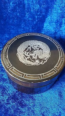 Antique Japanese oval Lacquer Black Box with silver Dragon Inlay