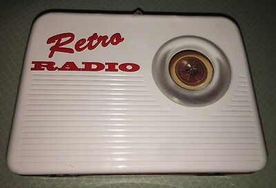 Collectible Tin Retro Radio Lunchbox Faux Wood Paneling Storage CUTE!