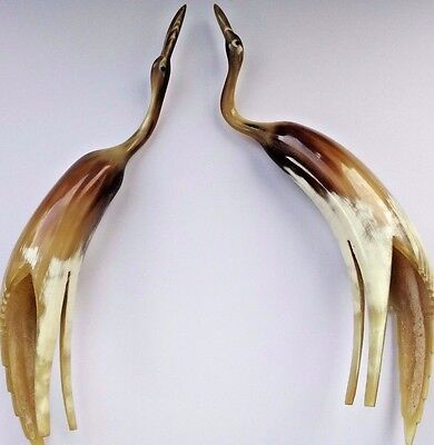 A Pair of Quirky Vintage Nigerian, Carved Horn Bird Ornaments.