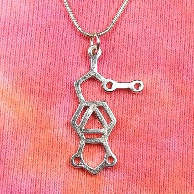 Ecstasy Molecule Necklace, MDMA Science Chemistry Jewelry Charm Pendant Gift Box