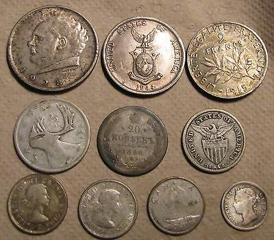 Interesting Original Lot of World Silver 1886-1968! 10 Coins Over $20.00 Melt!