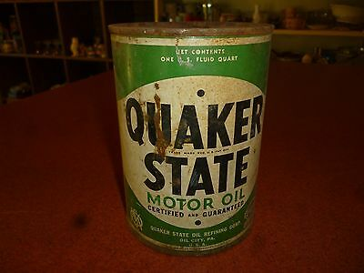 USED Vintage 1qt Quaker State Motor Oil Can