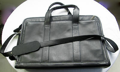 Reaction Kenneth Cole Black Leather Unisex Briefcase Laptop Tablets Bag #520085
