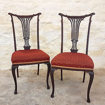 Edwardian Pair of Mahogany Pierced Back Dining Chairs C1905 (Antique)