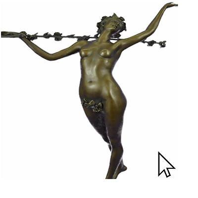 Bronze Sculpture Signed Original Wood Nude Nymph Calling Into Forest Sculpture