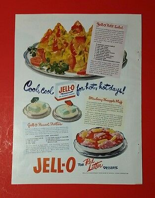 1951 JELLO Vintage AD w/ 50s fifties mid-century red letter desserts