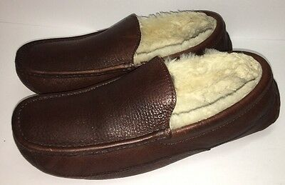 Men's Ugg Australia Ascot Dark Brown Leather Loafers Casual slipper Shoes Sz 11
