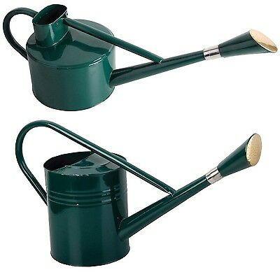 GREEN Small Large Long Galvanised Metal Watering Can with Rose Vintage (4 SIZES)