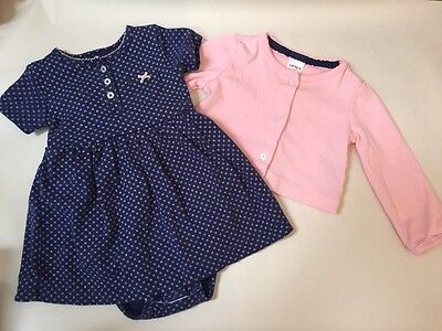 Carters Baby Girl 2 Piece Outfit Dress & Cardigan, 9 Months Excellent Condition