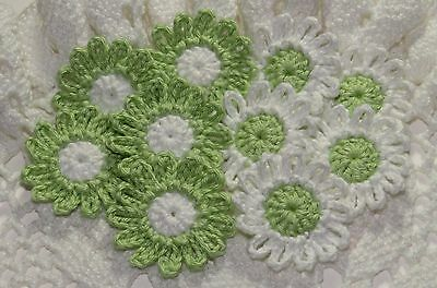 Crochet Daisies Flower Applique Embellishment - LIME GREEN/WHITE - 10 Pcs
