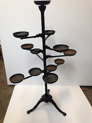 "Antique Victorian Cast Iron 8 Swing Arm Plant Stand 42"" Tall With 11 Holders"