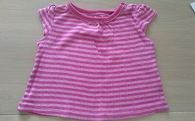 Girls Short Sleeve striped top from TU age 3-6 months