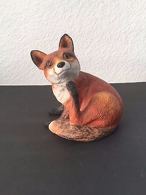 Vintage Porcelain Crafty Red Fox Figurine 1987 COR Collectible Statue