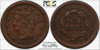 1851 PCGS VF30 Braided Hair Large Cent Secure Label 1C Ships Free
