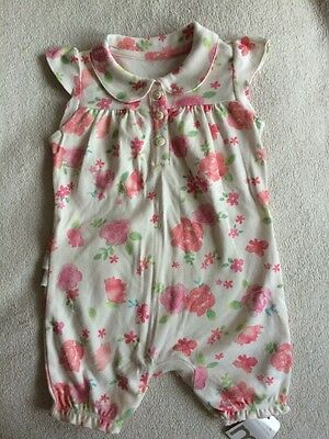 New Mothercare Baby Girls Summer Floral Romper Size 6-9 Months 100% Cotton
