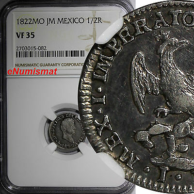 Mexico Augustin I Iturbide Silver 1822 MO JM 1/2 Real NGC VF35 BETTER DATE KM301