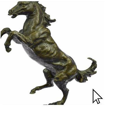 Bronze Sculpture Signed Milo Excited Rearing Horse Racing Sculpture Statue