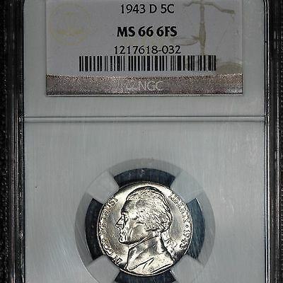 1943-D Jefferson Nickel, MS66 6FS NGC, White