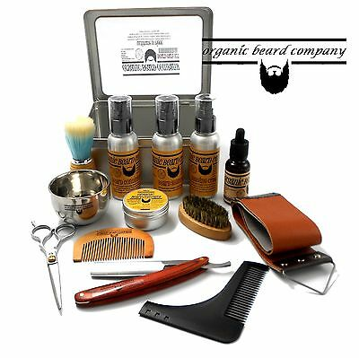 Organic Beard Metal Boxed 14 Piece Luxury Shaving Grooming Kit FREE UK Post