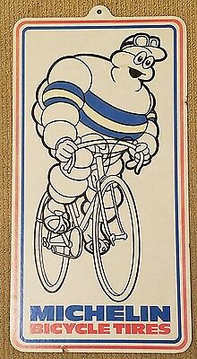 Michelin Tire Man Hanging Bicycle Advertising  Paper Cardboard Double Sided Sign