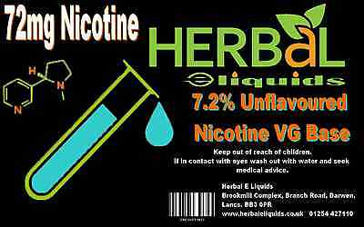 72mg 7.2% UK Made Nicotine Base In Vegetable Glycerine 1000ml TRADE ONLY