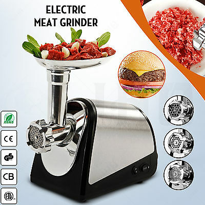 Electric Meat Grinder Home Commercial Stainless Steel W/3 cutting blades