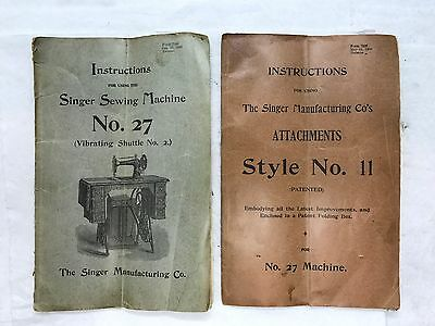 1900 Singer Sewing Machine No 27 Manual & Attachments Style 11 Instructions