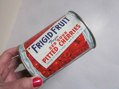 Vintage Frigid Food Products Frozen Cherries Can 60s Detroit Advertising