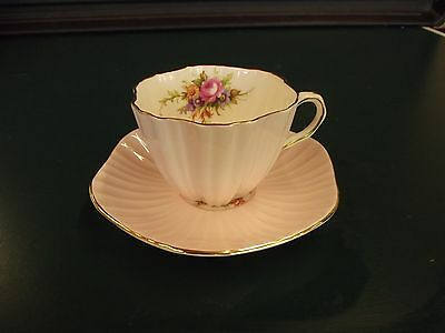 Antique Foley Bone China Floral Tea Cup & Saucer Pink with Gold Rim
