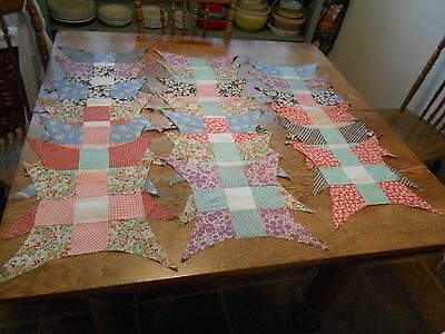 Vintage Antique 20 Improved Nine Patch Quilt Blocks Cotton Feed Sack 18X18 1940s