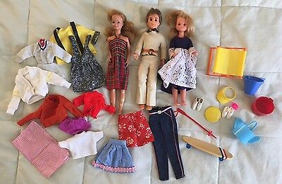 Vintage 1970's Barbie, clone and handmade clothes Lot SUNSHINE FAMILY, SKIPPER