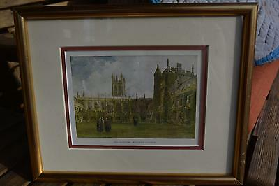 Gold Framed Colored Print ? Picture The Cloisters Magdalen College Oxford