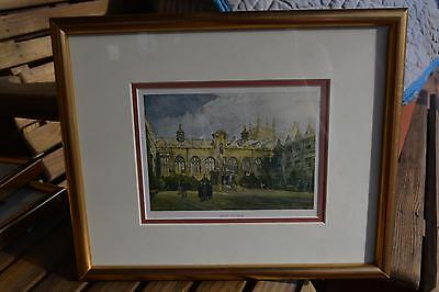Gold Framed 'Olde' Colored Print ? Picture ORIEL COLLEGE Oxford England