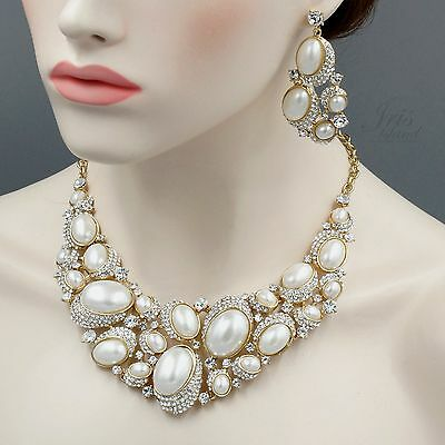 Gold Plated GP Pearl Crystal Necklace Earrings Bridal Wedding Jewelry Set 05434
