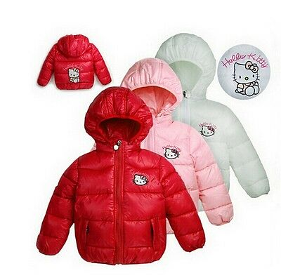 NEW Very Cute Hello Kitty Toddler Kids Girls Bubble Down Hooded Winter Jacket