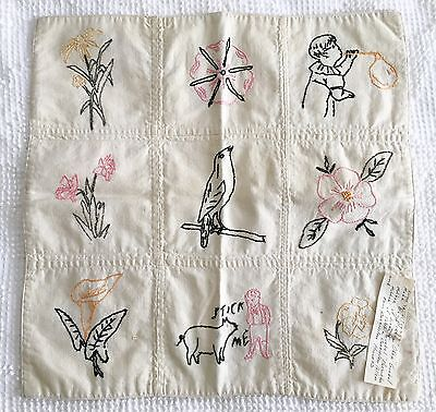 1935 Antique Hand Embroidered Quilt Square with Family History Embroidery
