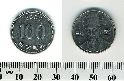 South Korea 2005 - 100 Won Copper-Nickel Coin - Bust with hat facing
