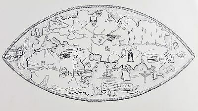 "Paolo Toscanelli Map Land Mass of Asia Black and White Print 8 1/2"" X 11"" Vtg"