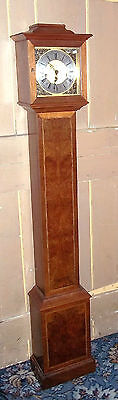 Small Elegant Westminster Chiming Walnut Inlaid Grandmother Clock